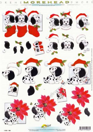 Morehead Christmas Dalmatian Dogs 3D Decoupage Craft Sheet
